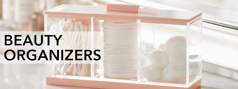 Divided beauty organizer with swabs, cotton pads, and cotton balls