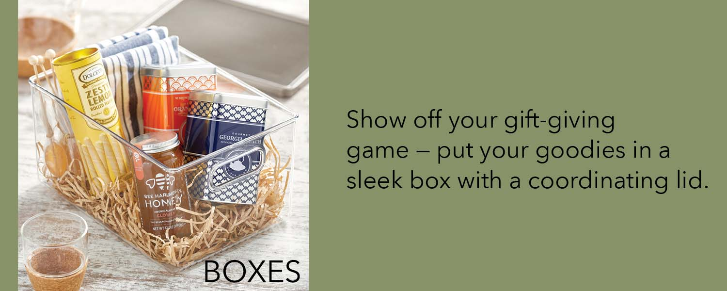 show off your gift giving game - put your goodies in a sleek box with a coordinating lid