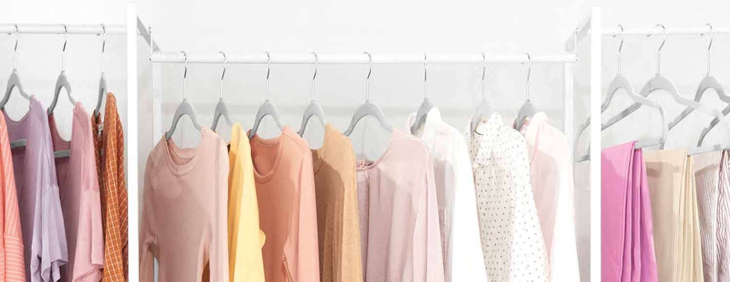 Closet storage with hangers and blouses