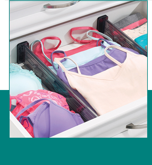 Camisoles organized and folded in drawers