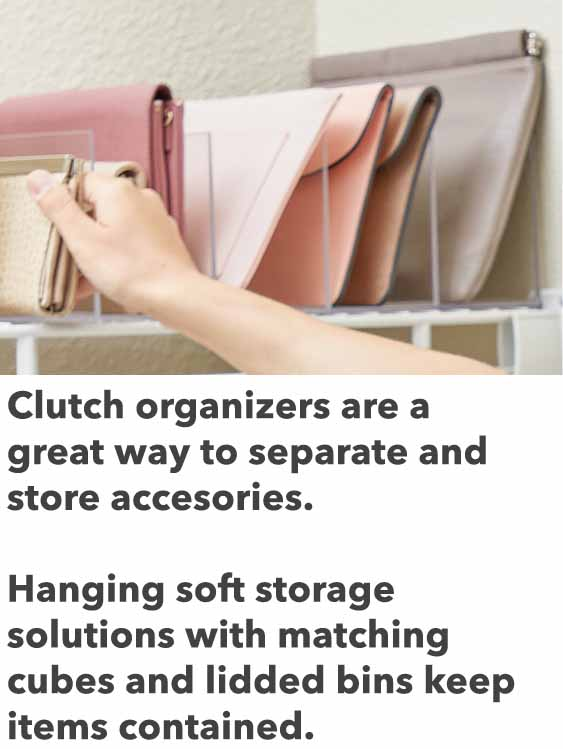 clutch organizers to store accessories