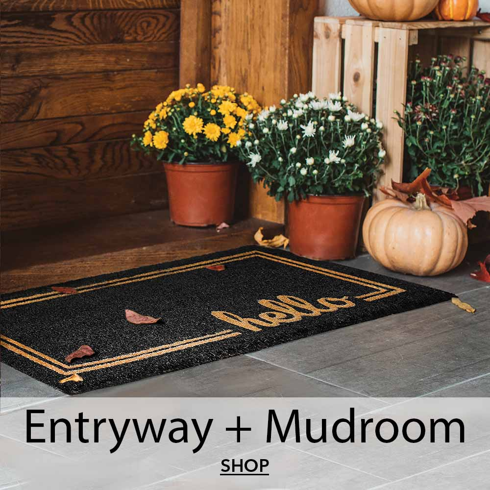 black entry mat with hello text