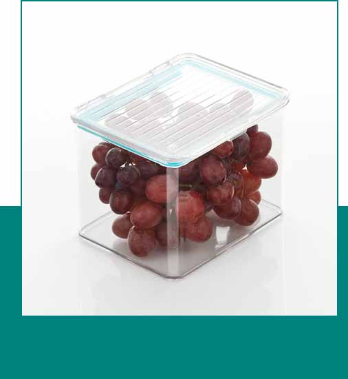 Clear storage bin with lid and grapes