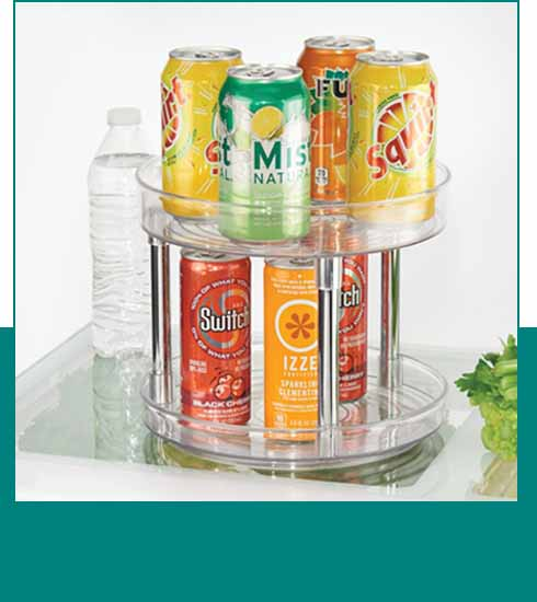 two tier lazy susan with soda and sparkling water