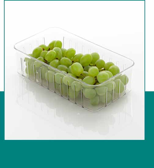 Clear storage bin with vents and green grapes