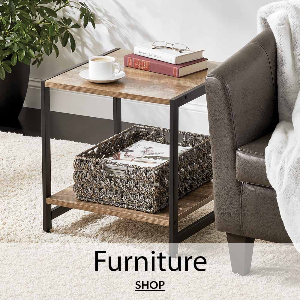side table wood with metal legs, woven basket