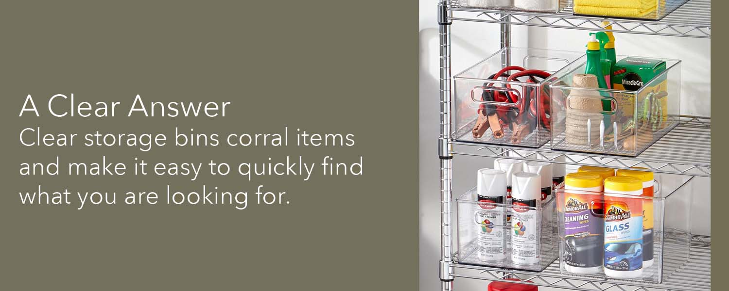 clear storage bins corral items and make it easy to quickly find what you are looking for