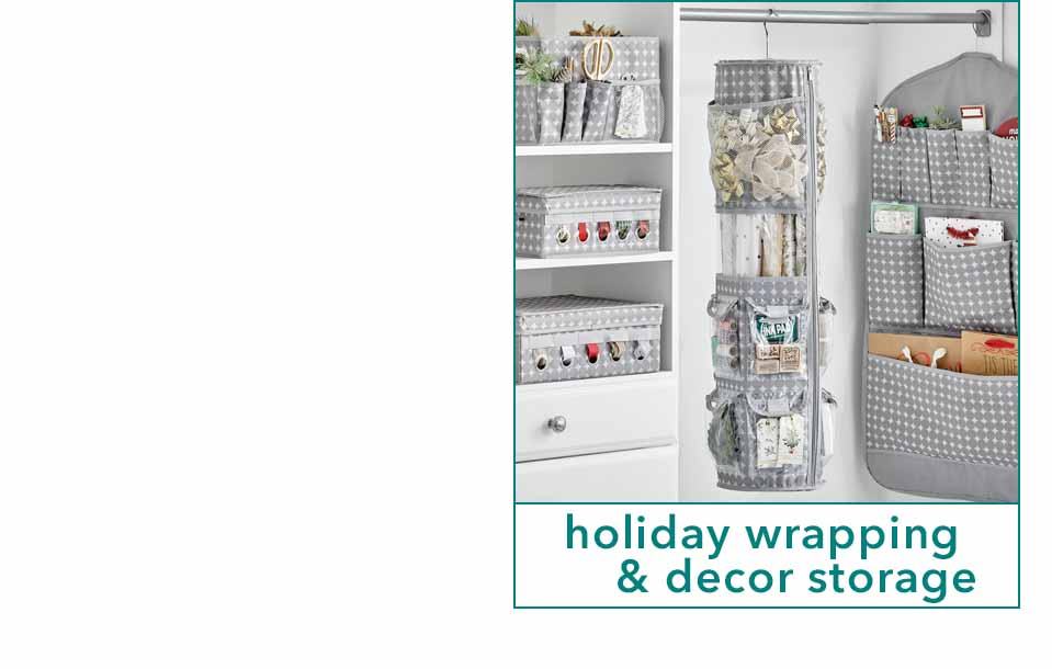 Holiday gift wrapping storage in closet