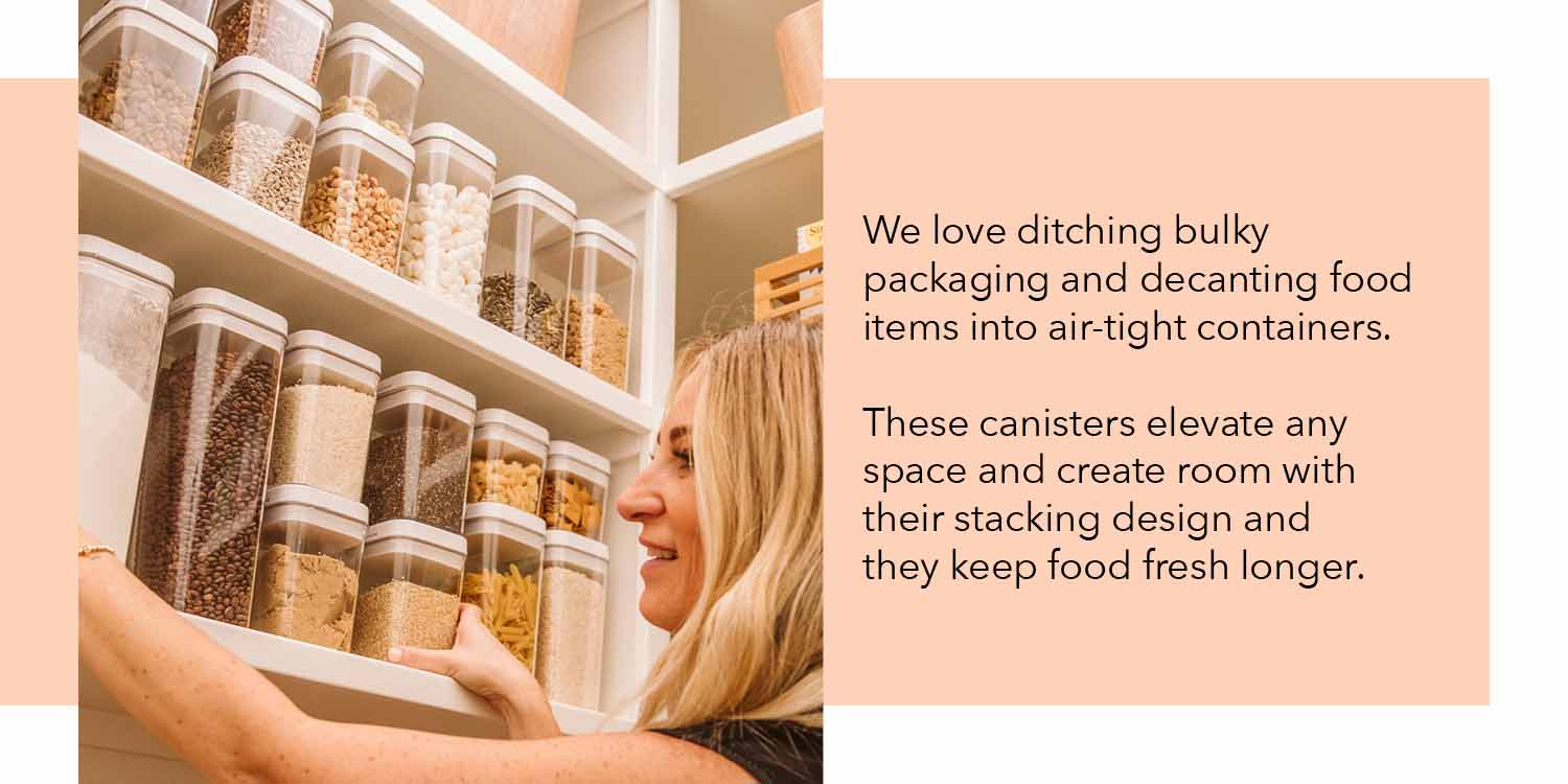 we love ditching bulky packaging and decanting food items into airtight containers these canisters elevate any space and create room with their stacking design and they keep food fresh for longer