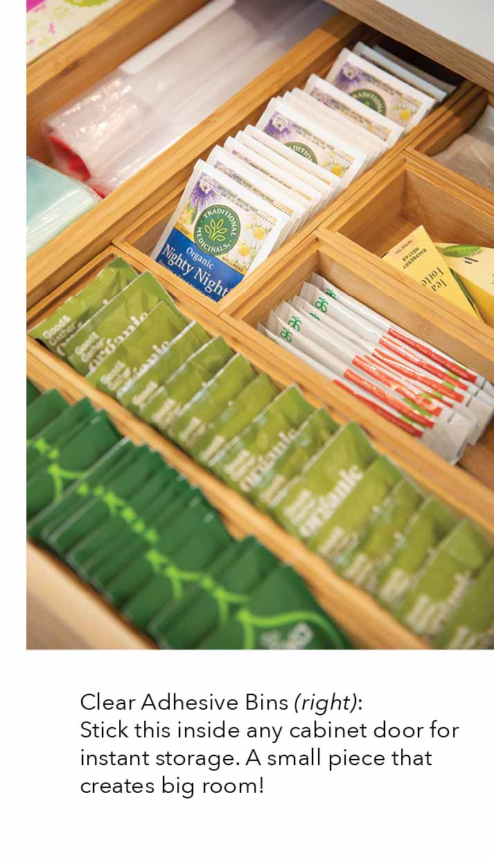 bamboo drawer organizers and clear adhesive bins stick this inside of any cabinet door for instant storage a small piece that creates big room