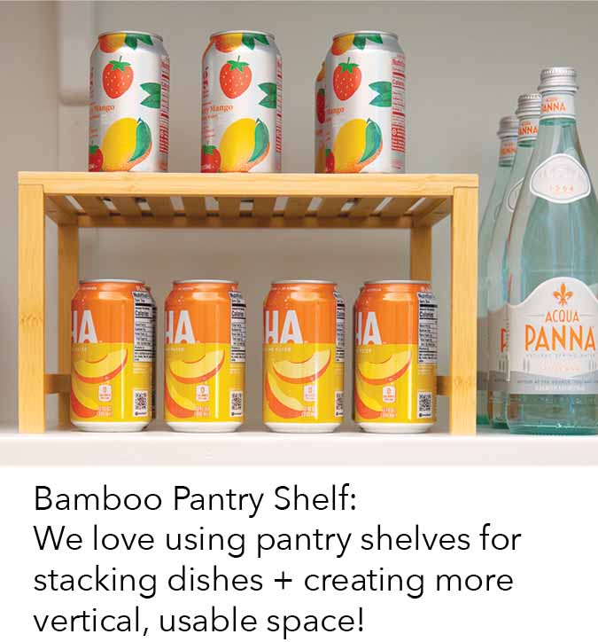 bamboo pantry shelf we love using pantry shelves for stacking dishes + creating more vertical, usable space!