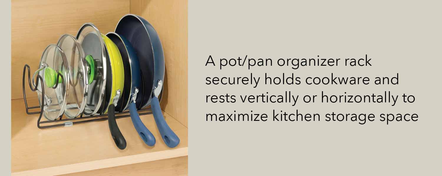 kitchen pot pan organizer rack securely holds cookware and rests vertically or horizontally to maximize kitchen storage space