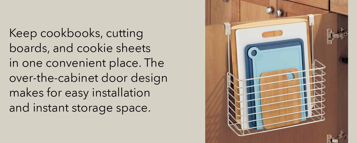 keep cookbooks cutting boards and cookie sheets in one convenient place the over the cabinet door design makes for easy installation and instant storage space