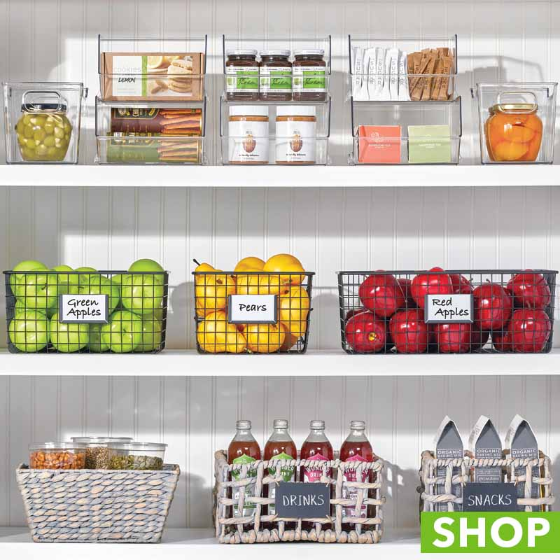 Pantry shelves with wire baskets, clear bins and woven storage baskets