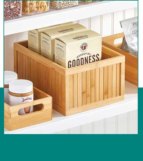 Wooden boxes stored in pantry