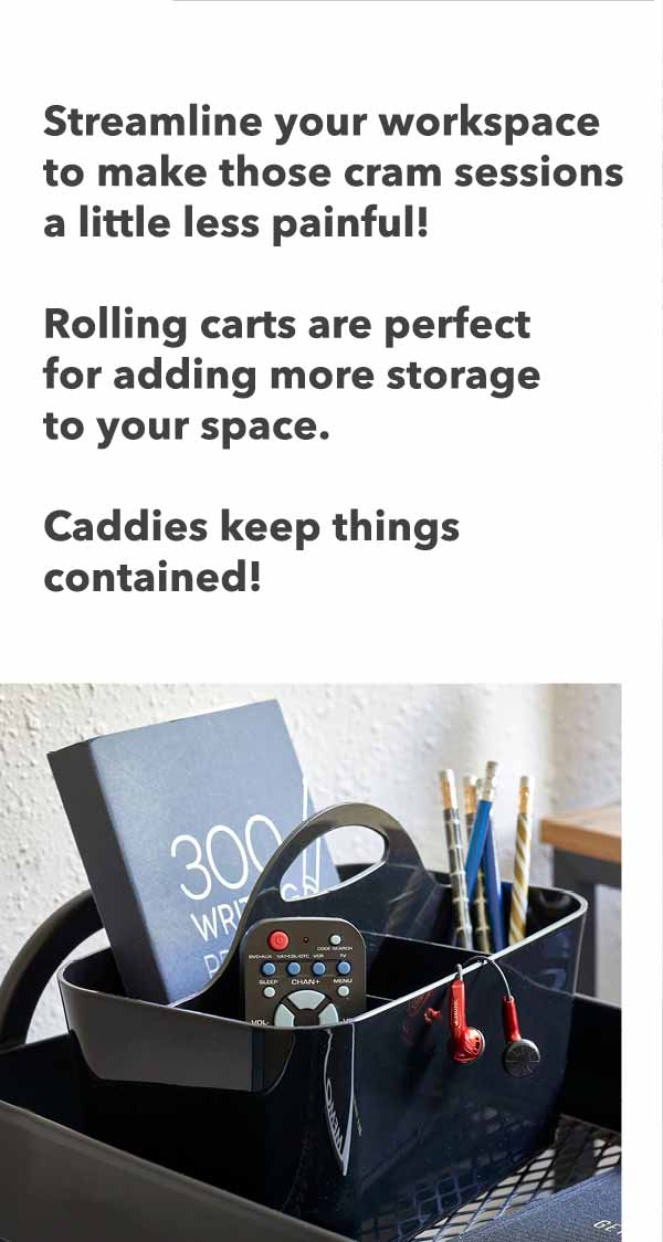 streanline your workspace with rolling carts and caddies