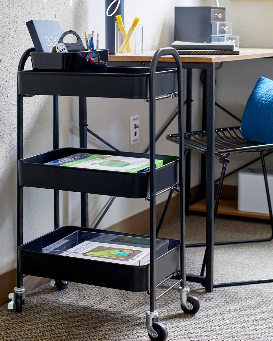 rolling cart for school storage