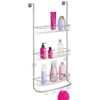 Practical Bathroom Caddy Made of Durable Plastic etc Shower Basket for Storing Razors Soap Charcoal Grey mDesign Shower Caddy Loofahs