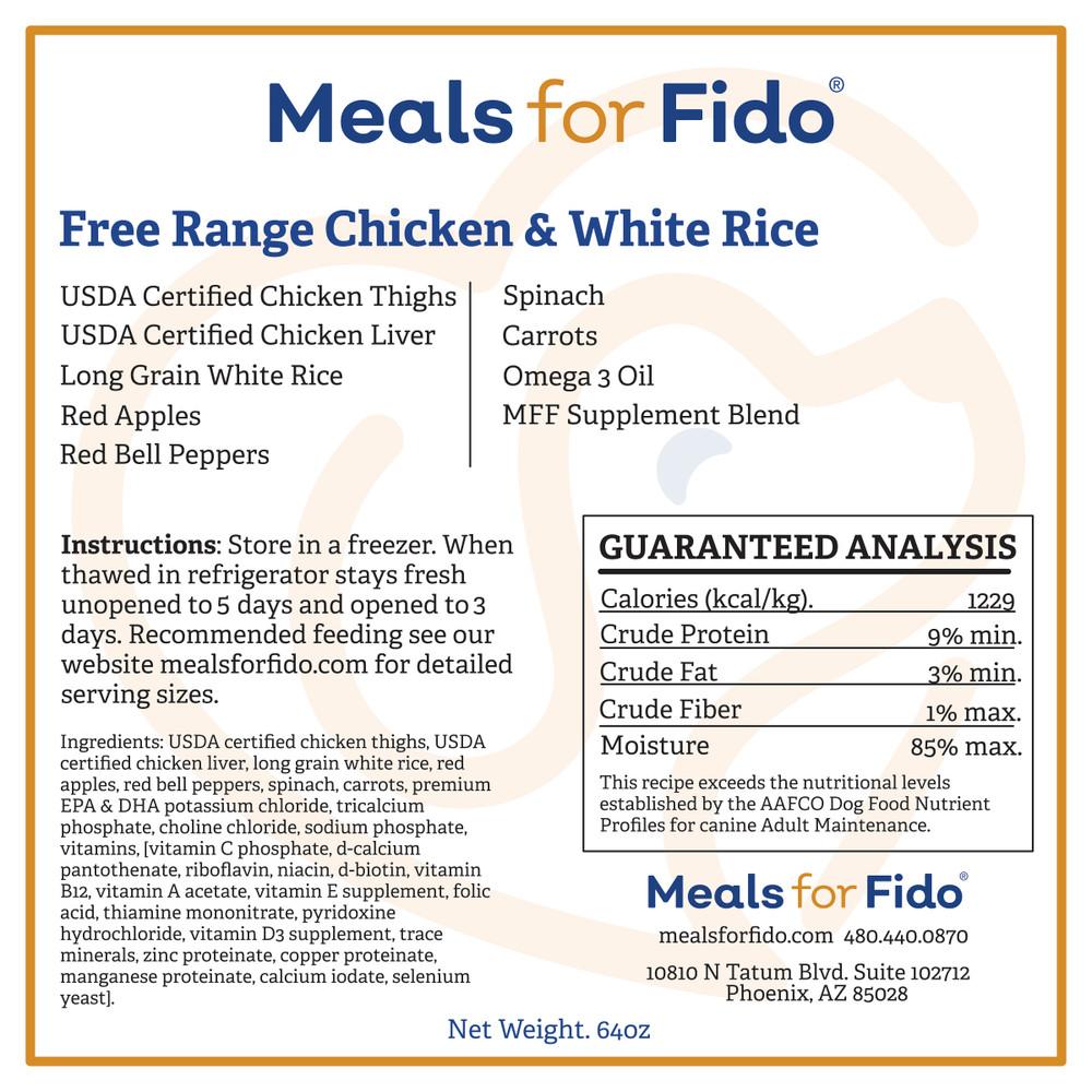 Free Range Chicken & White Rice Label