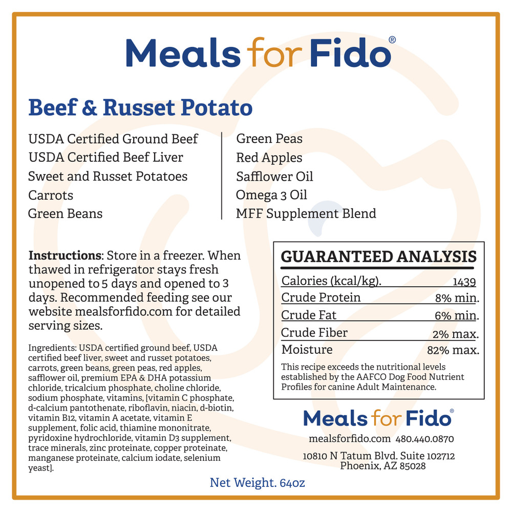 Beef & Russet Potato Label