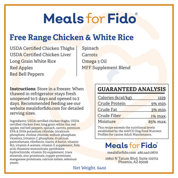 Free Range Chicken & White Rice Label