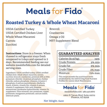 Roasted Turkey & Whole Wheat Macaroni Label