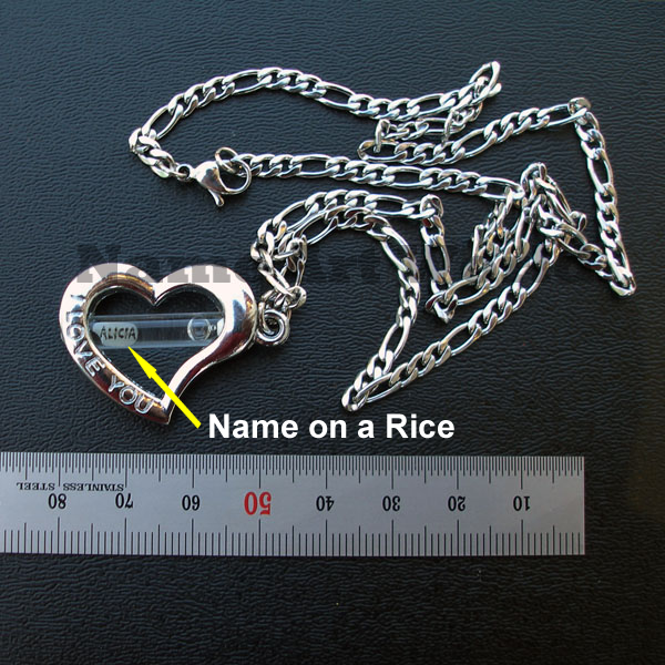 Customized Name on Rice Heart Pendant Necklace or Key Chain