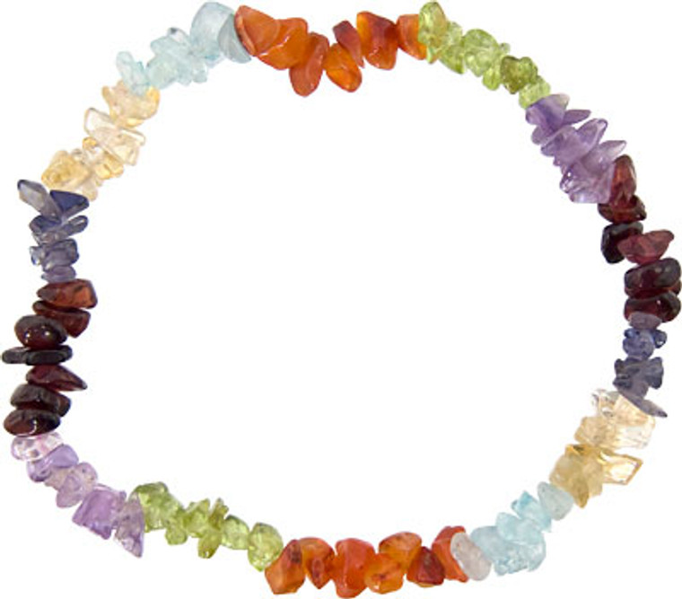 This is a Chakra Bracelet. It is make up of semiprecious rough cut beads of amethyst, citrine, carnelian, garnet, peridot, blue topaz and clear quartz.