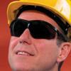 Crews Storm Safety Glasses with Black Frame and Gray Lens ST112 Worn