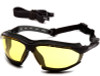 Pyramex Isotope Convertible Safety Glasses/Goggles with Black Frame and Amber Anti-Fog Lens