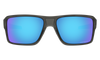 Oakley Double Edge Sunglasses with Grey Smoke Frame and Prizm Sapphire Polarized Lens Front View 2