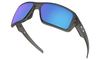 Oakley Double Edge Sunglasses with Grey Smoke Frame and Prizm Sapphire Polarized Lens Front View