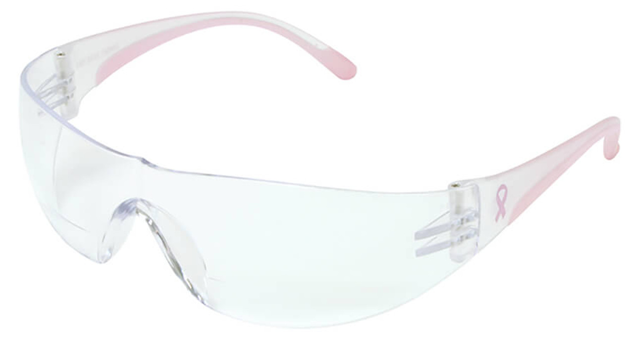 6c7a8021fe Bouton Eva Women s Bifocal Safety Glasses with Pink Temple Trim and Clear  Anti-Fog Lens