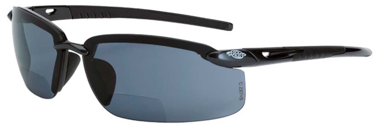 ac29e4b48eed Crossfire ES5 Bifocal Safety Glasses with Crystal Black Frame and Polarized  Smoke Lens