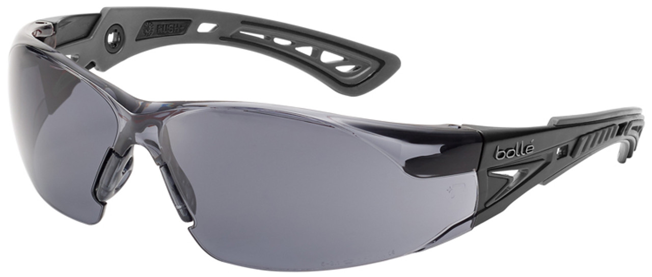 b9b41da6abcd Bolle Rush Plus Safety Glasses with Black Gray Temples and Smoke Lens with  Platinum Anti