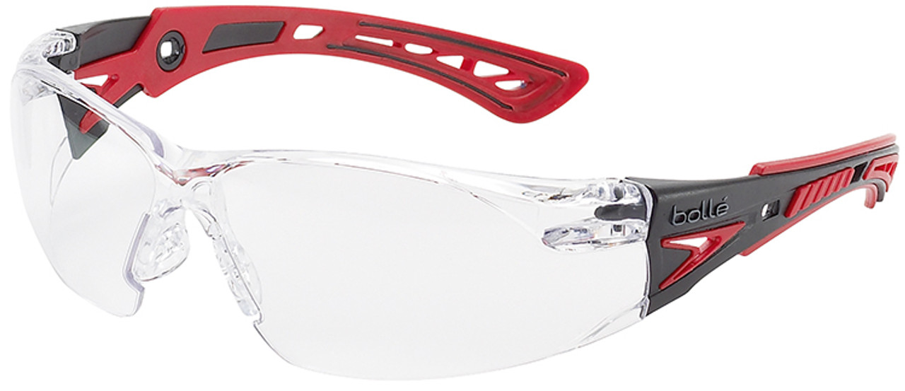 106919c456 Bolle Rush Plus Safety Glasses with Black Red Temples and Clear Lens with  Platinum Anti