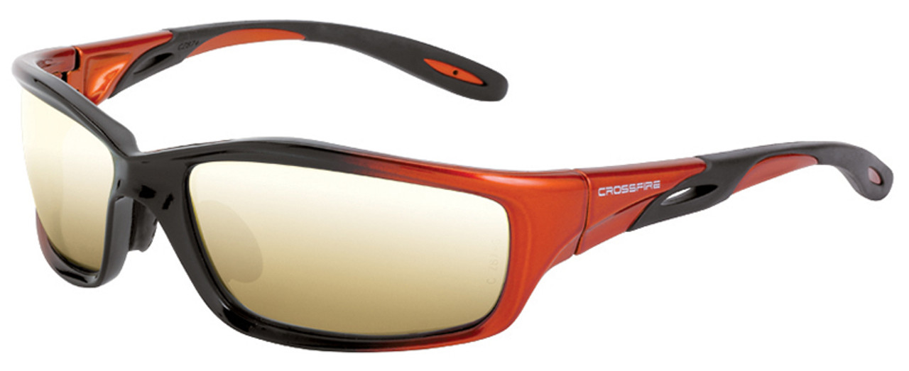 b92da022382 Crossfire Infinity Safety Glasses with Orange Black Frame and Gold Mirror  Lens