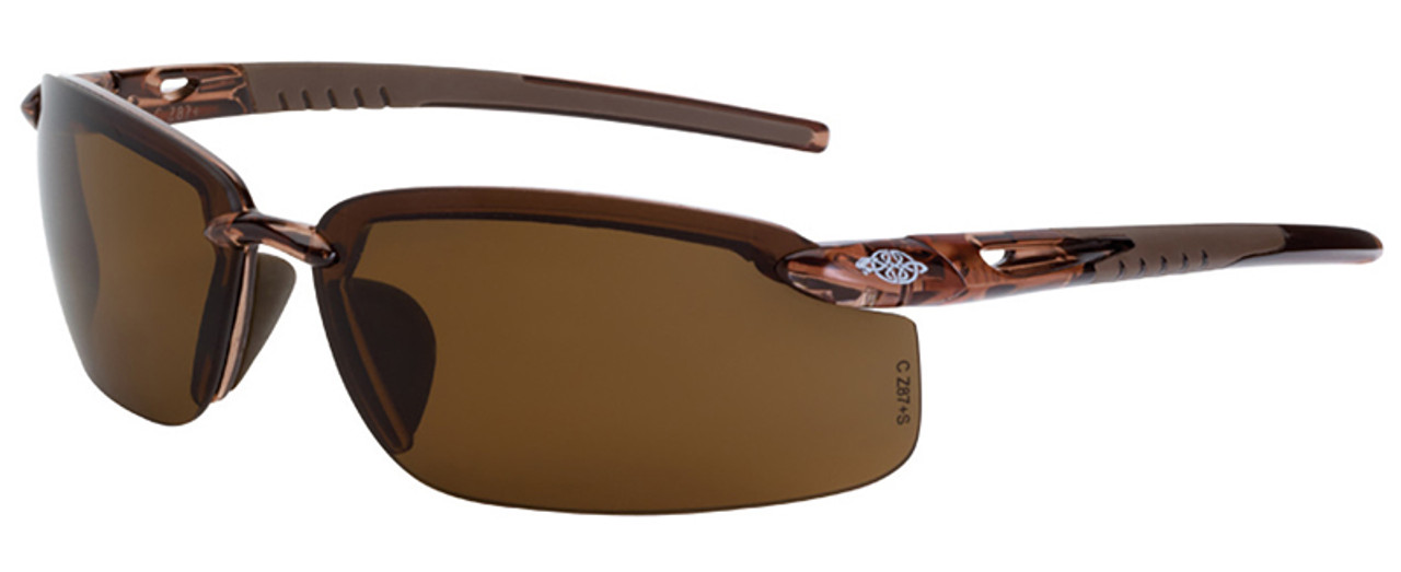 1805e73223 Crossfire ES5 Safety Glasses with Crystal Brown Frame and Polarized Brown  Lens