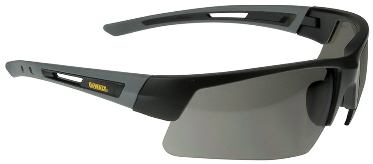 0e0850ede159 DeWalt Crosscut Safety Glasses with Black/Gray Frame and Smoke Lenses