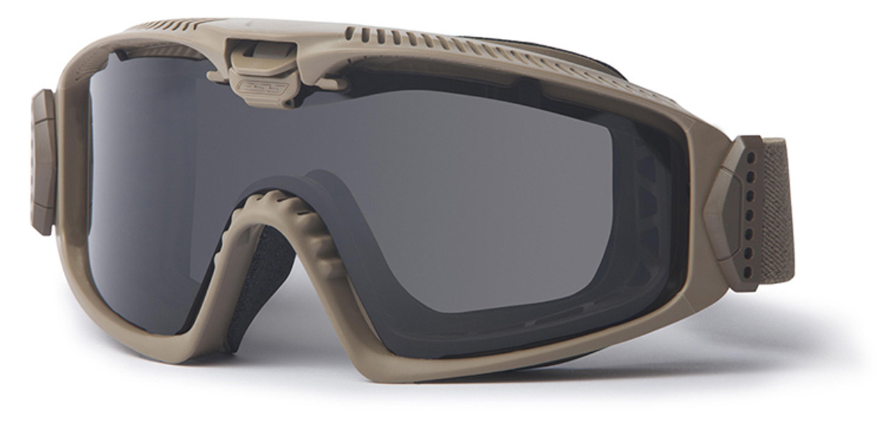 8557177623fb ESS Influx Ballistic Goggle with Terrain Tan Frame and Clear and Smoke  Lenses