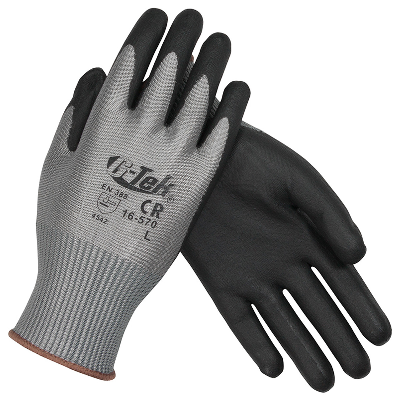 PIP 16-570 G-Tek PolyKor Seamless Knit PolyKor Blended Gloves -  Polyurethane Coated Smooth Grip on Palm & Fingers