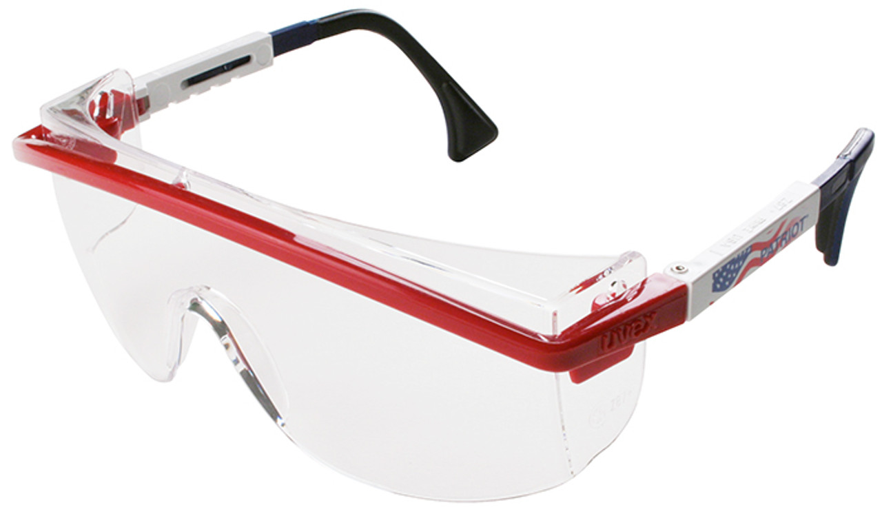 85b1ba0559f9 Uvex Astrospec 3000 Safety Glasses with Patriot RWB Frame Duoflex Temples  and Clear XTR Anti