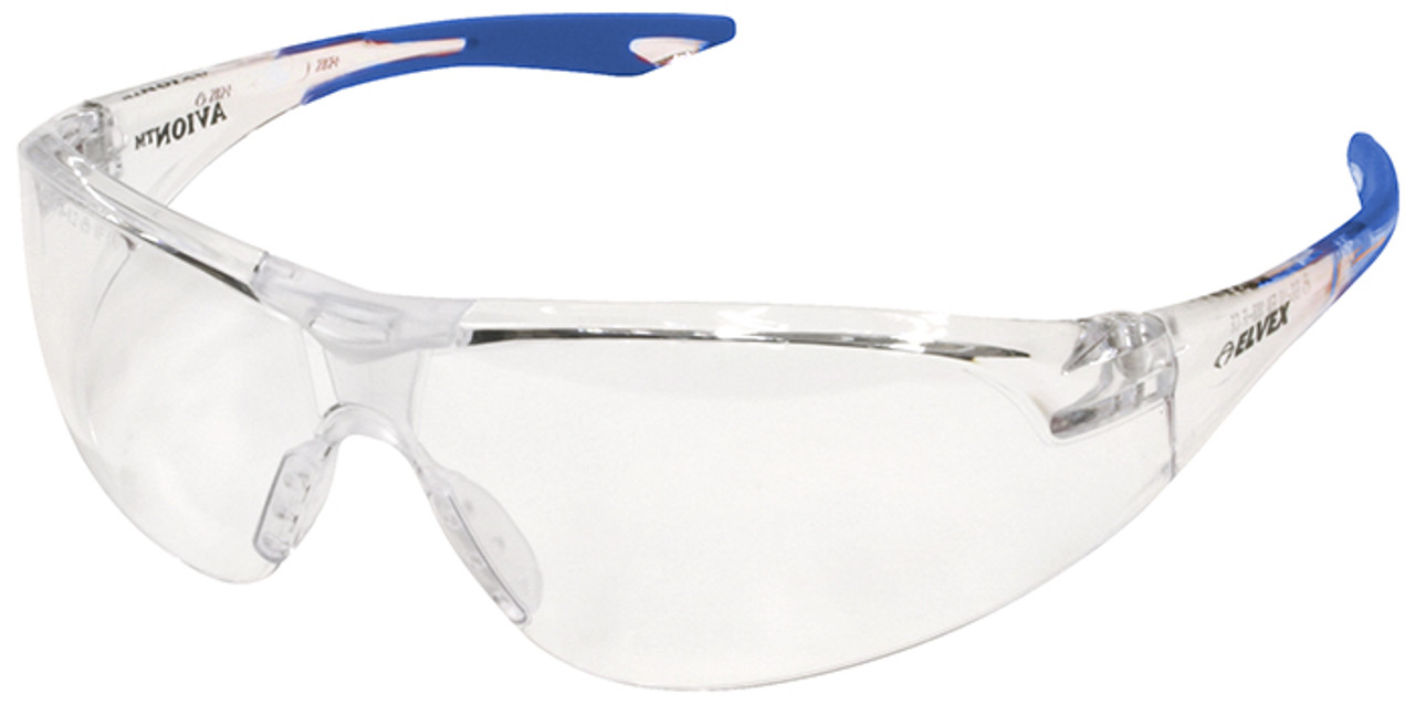 3b6c5a9d79f8 Elvex Avion Safety Glasses with Blue Temple Tip and Clear Anti-Fog Lens