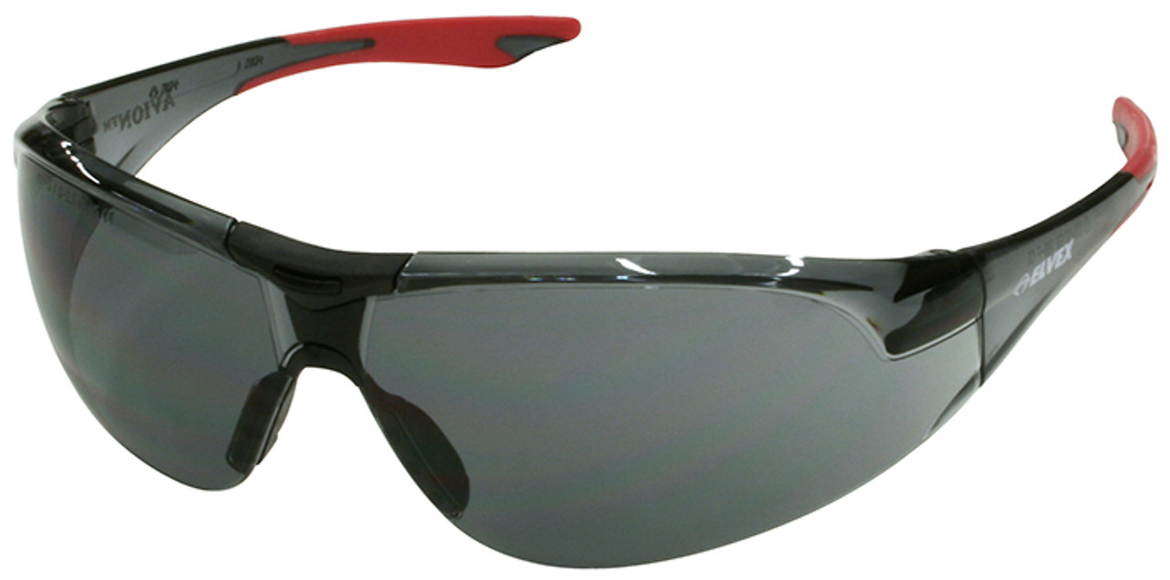 4707823593e3 Elvex Avion Safety Glasses with Red Temple Tip and Gray Lens