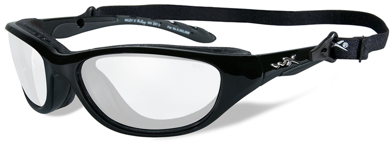 997044595a Wiley X AirRage Safety Glasses Gloss Black Frame Clear Lens