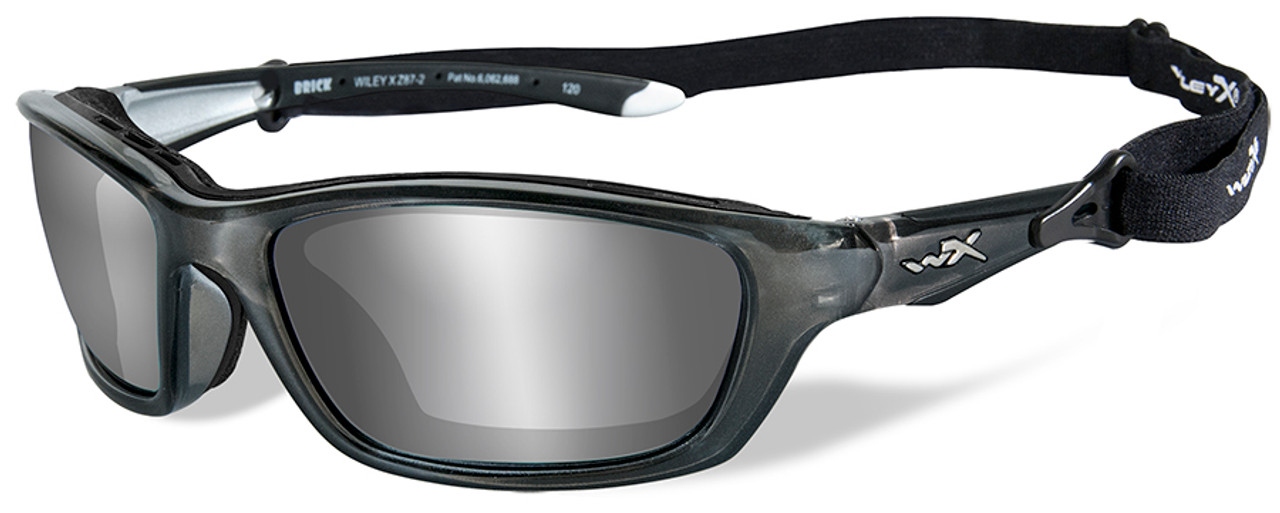 8bef478c72 Wiley X Brick Safety Sunglasses with Crystal Metallic Frame and Silver  Flash Lens