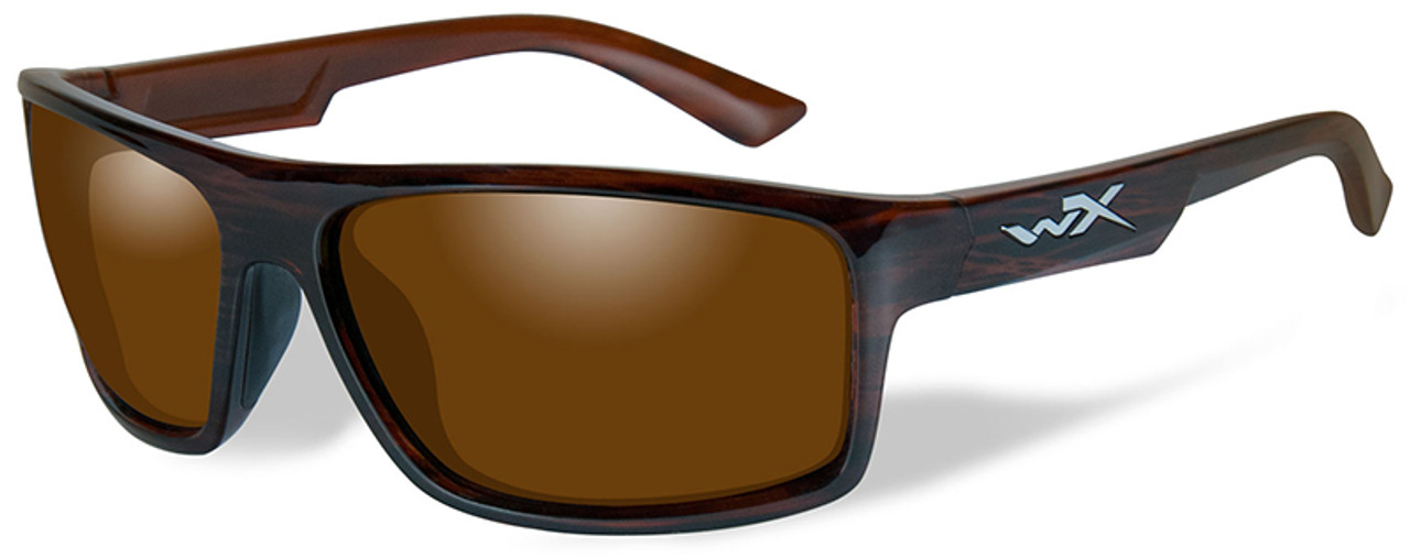c869a7e2aad Wiley X Peak Safety Sunglasses with Gloss Layered Tortoise Frame and Amber  Polarized Lens