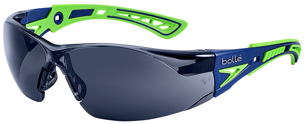 66b0eba7eec Bolle Rush Plus Safety Glasses with Blue Green Temples and Smoke Platinum  Anti-Fog