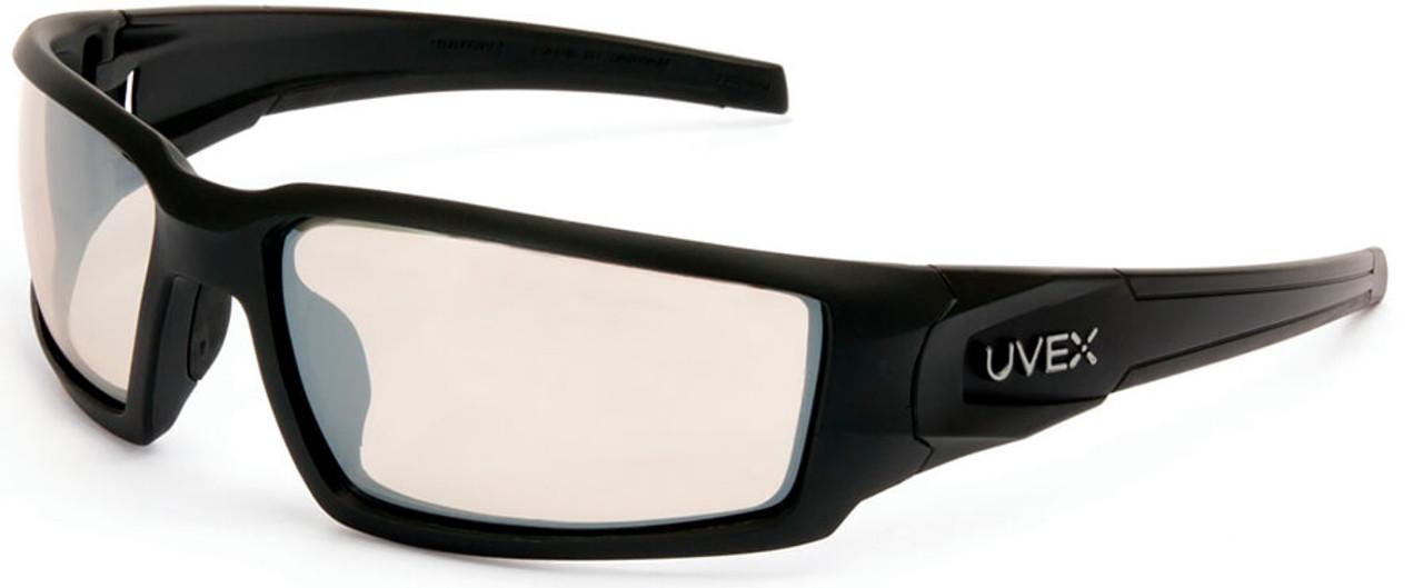 Black Frame Uvex Hypershock Safety Glasses with Amber Anti-Fog Lens