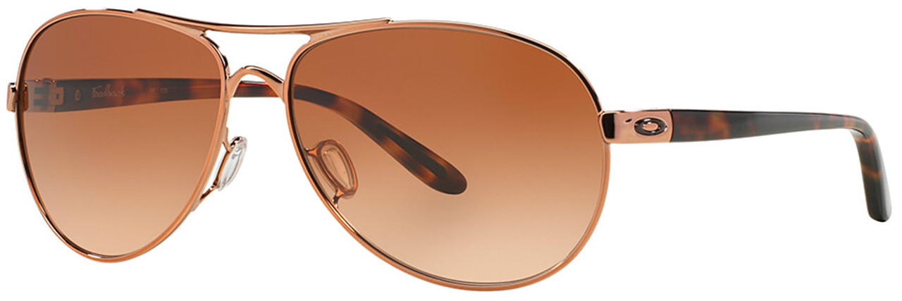 5702d4955f Oakley Feedback Sunglasses with Rose Gold Frame and VR50 Brown Gradient Lens